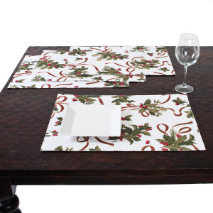 Fête De Noël Holly Design Festive Placemats, Set of 4