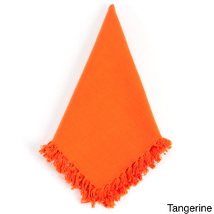 Lizette Fringed Design Festive Napkins, Set of 4, tangerine