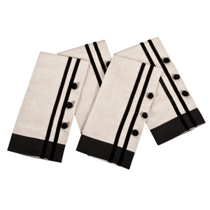 Classic Black and Khaki Chinese Knot Guest Towel, Set of 4