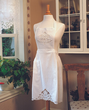 Hand Embroidered and Battenberg Lace Embellished Full Size Cuisine Apron