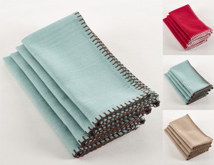 Fennco Styles Whip Stitched Napkins, Set of 4, 3 Colors