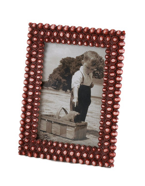 "Fennco Styles Coral Jeweled Decorative Photo Frame, 2 Photo Sizes (4""x6"")"