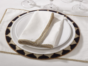 Fennco Styles Beaded Design Cotton Napkins - 20-inch Square - Set of 4