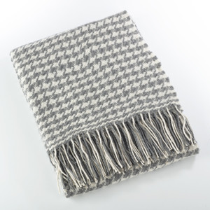 Fennco Styles Sevan Collection Houndstooth Design Wool Blend Throw Blanket