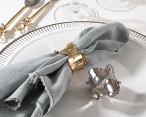 Fennco Styles Collection Classic Design Napkin Ring - 2 Colors - Set of 4