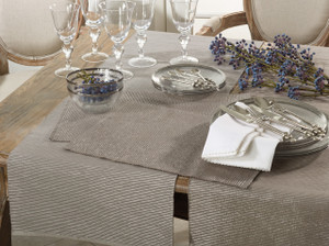 Fennco Styles Lois Shimmering Ribbed Cotton Table Placemats and table runner