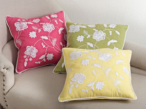 "Fennco Styles Home Décor Embroidered Floral Design Pillows - 18"" Square (100% Cotton)"