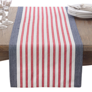 "Fennco Styles American Flag Striped Cotton Table Runner - 16""x72"""