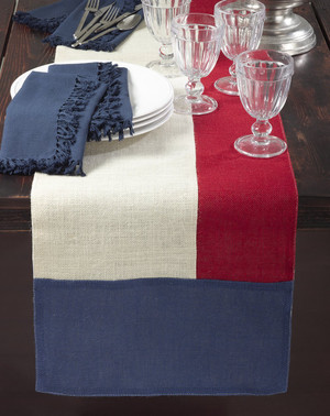 Fennco Styles American Flag Design Color Block Jute Table Runner