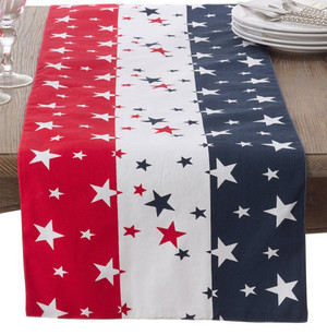 "Fennco Styles 4th of July Star Spangled Cotton Table Runner - 16""x72"""