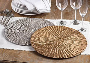 Fennco Styles Natural Water Hyacinth Decorative Round Hand Woven Rattan Placemat