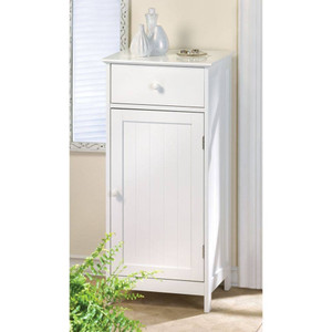 Fennco Styles Lakeside White Storage Cabinet or Bedside Table