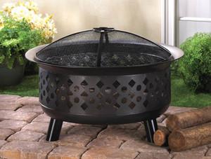 Fennco Styles Garden Outdoor Decorative Black Fire Pit