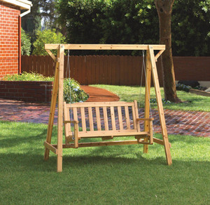 Fennco Styles Outdoor Rustic Front Porch Swing with Stand