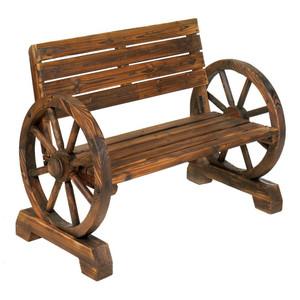 Fennco Styles Ketcha Wood Garden Wheel Bench