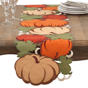 "Fennco Styles Decorative Cutwork Pumpkin Table Runner - 14""x72"""
