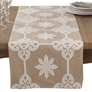 "Fennco Styles Decorative Applique Design Baroque Cotton Table Runner - 16""x72"""