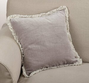 """Fennco Styles Fringed Solid Decortation Throw Pillow 20"""" Square"""