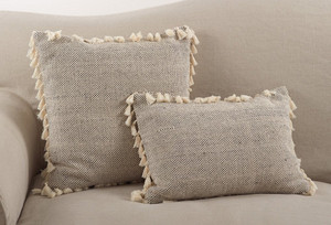 Fennco Styles Moroccan Design Tassel Fringe Cotton Down Filled Throw Pillow