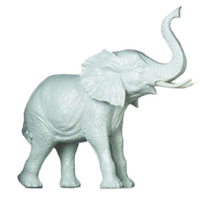 "Fennco Styles Home Accent Tabletop Decorative White Ceramic Elephant - 7.5"" H 2.5"" W 7"" D"