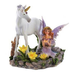 Fennco Styles Collectible Forest Magic Fairy and Unicorn Sculpture Figurine