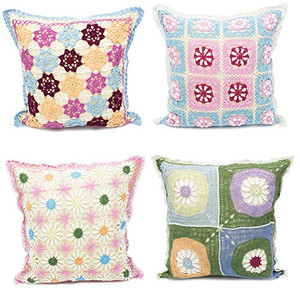 """Fennco Styles Handmade Floral Design Crochet Lace Decorative Throw Pillow Cover 16"""" Square - 100% Cotton"""