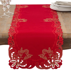"""Fennco Styles Emboridered Cupid Holiday Table Runner 16""""x72"""""""