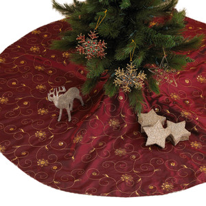 Burgundy Embroidered and Sequined Tree Skirt