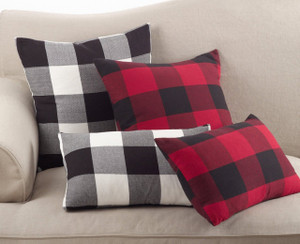 Fennco Styles Buffalo Check Plaid Design Cotton Down Filled Throw Pillow