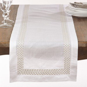 "Fennco Styles Metallic Embroidered Dots Design Table Runner-16""x72"""
