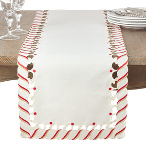 Fennco Styles Candy Cane Border Trim Design Christmas Collection