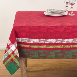 "Fennco Styles Christmas Tree Holiday Plaid Cotton Tablecloth 70"" Square"