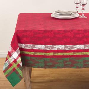 "Fennco Styles Christmas Tree Holiday Plaid Cotton Tablecloth 70"" Square"