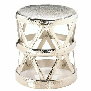 Fennco Styles Decorative Hammered Drum Accent Stool