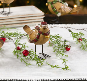 Fennco Styles Christmas Holiday Decoration Mini Gold Finch Status Figurines