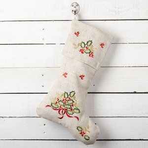 """Fennco Styles Embroidered Holly Design Decorative Linen Blend Christmas Stocking (7""""x15"""" Stocking)"""