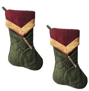 Two-tone Crushed Tissue Tassel Christmas Stocking