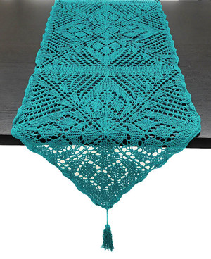 """Fennco Styles Handmade Crochet Lace Design Cotton Table Runner with Tassels 16""""x72"""""""