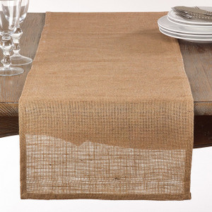 "Fennco Styles Classic Burlap Table Runner - 16""x72""- 2 Colors"