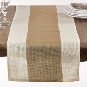 "Fennco Styles Burlap Table Runner With Thick Gold Band - 16""x72""- 2 Colors"