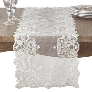 "Fennco Styles Embroidered Floral Lace and Beaded Antique Style Table Runner 16""x72"""