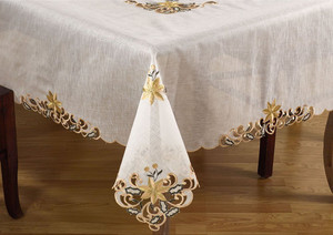 Fennco Styles Embroidered And Cutwork Design Tablecloth - 6 Sizes