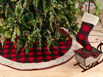 Fennco Styles Buffalo Plaid with Sherpa Border Tree Skirt & Stocking