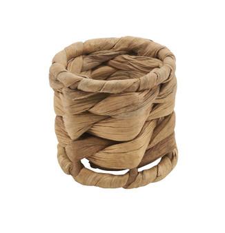 Fennco Styles Woven Sea Grass Design Napkin Ring - Set of 4