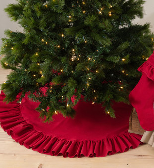 Geneviève Ruffled Design Cotton Holiday Christmas Tree Skirt