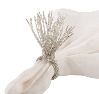Fennco Styles Hand Beaded Spray Design Event Napkin Ring - Set of 4