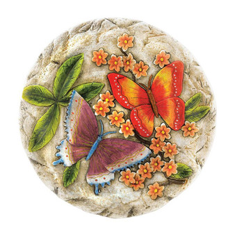 Fennco Styles Outdoor Décor Vivid Fluttering Garden Stepping Plaque Stone