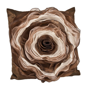 Fennco Styles Multilayered Hayley Rose Decorative Throw Pillow, 16-inch Square (Coffee)