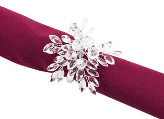 "Fennco Styles Crystal Design Collection Napkin Ring - Set of 4 (2.5"" Crystal Rose Blossom)"