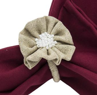 Fennco Styles Flower Design Burlap Hand Beaded Napkin Ring - Set of 4 Piece